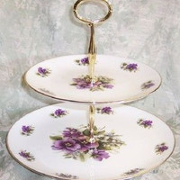 2-Tier Pansy Bone China Cake Stand