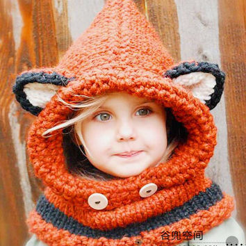 Chunky Red Fox Hooded Child's Scarf