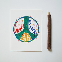 Love Peace Harmony card hippie boho notecard