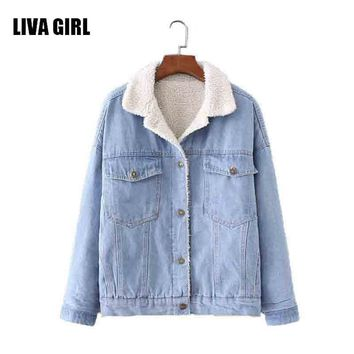 Winter Fur Denim Jacket Women Bomber Jacket Blue Jeans Jacket Coat with Full Warm Lining & Front Button Flap Pockets J11