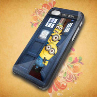 Minion in Tardis Dr Who Door for iphone 5,iphone 4, samsung galaxy s2 I9100,s3 I9300,s4 I9500