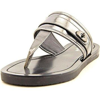 CREY3DS Coach Women's Eileen Mirror Metallic Gunmetal Leather Flats 8 B(M) US