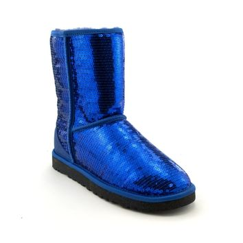 Womens UGG® Classic Short Sequin Boot, Blue Sparkle | Journeys Shoes