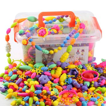 485PCS Kids Girls Colors Plastic Pop Snap Beads Toys Creativel Arts & Crafts DIY Wear Bead Jewelry Bracelet Without String Toys