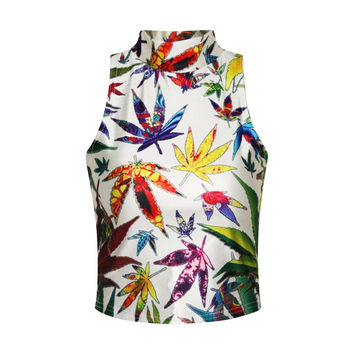 Sexy Bralette Beach Stylish Hot Comfortable Summer Leaf Print Slim Vest [6049141825]