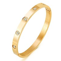 """Mocalady Jewelry Yellow/ Rose/ White Gold Plated Bangle Bracelet All Stone/Heart Stone Stainless Steel Crystal Bangle Bracelets for Women Jewelry Size 6.7"""""""