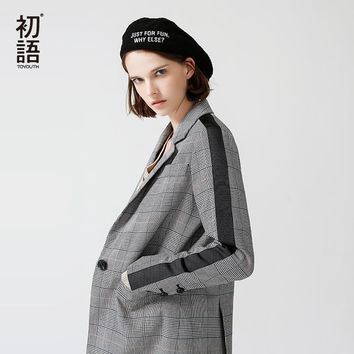 Toyouth New Arrivals 2018 Spring Women Blazers Slim Turndown Collar Office Lady Jacket Casual Black White Plaid Female Blazers
