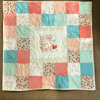 Baby girl blanket , Plush baby blanket, Aqua Pink Coral Mint gold bedding, Soft baby blanket, Girl baby blanket, Heart blanket for baby girl