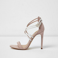 Light pink wide fit caged sandals