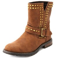Flat Studded Ankle Bootie: Charlotte Russe