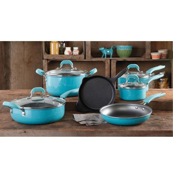 Pioneer Woman Vintage Speckle Non Stick Pre Seasoned Cookware 10 Piece Set | Hayneedle