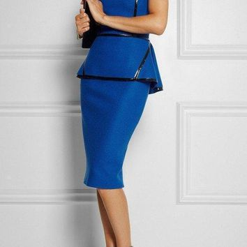 Royal Blue Leather Trim  Peplum  Dress