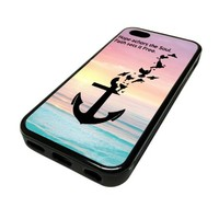 For Apple iPhone 5C 5 C Case Cover Skin Hipster Pink Beach Ombre Naval Anchor Birds Pretty Cute Teen DESIGN BLACK RUBBER SILICONE Teen Gift Vintage Hipster Fashion Design Art Print Cell Phone Accessories by MonoThings