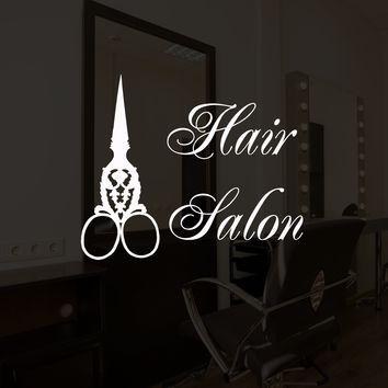 Vinyl Wall Decal Vintage Scissors Hair Salon Lettering Beauty Stylist Hairdresser Stickers Mural Unique Gift (ig5230)