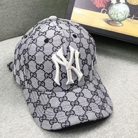 GUCCI & NY Fashion New More Letter Embroidery Letter Women Men Sunscreen Travel Cap Hat Gray