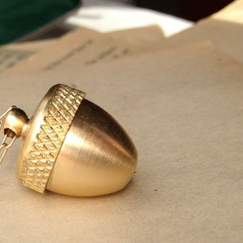 Secret Compartment Necklace, Acorn necklace with urn opening, brass acorn