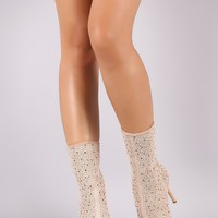 Qupid Mesh Rhinestone Embellished Stiletto Mid Calf Boots