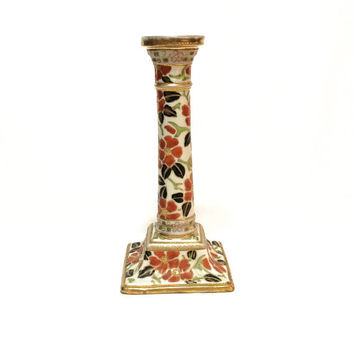Art Nouveau Candlestick / Lamp Base, Nippon Hand Painted Candlestick Lamp, Orange Green Floral Motif, 1891-1911, Antique Porcelain