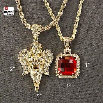 Jewelry Kay style Men's Hip Hop Angel Red Ruby Stone Pendant Combo Rope Necklace 2 pc Set HCD21