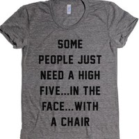 High Five-Female Athletic Grey T-Shirt