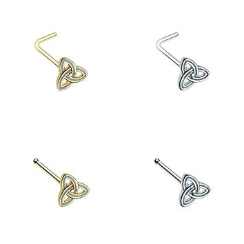 Golden & Silver Triquetra Trinity Knot L-Shape & Stud Nose Ring