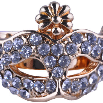 Gold Plated White Rhinestone Mask Ring RUR0000332