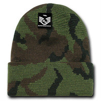 Tactical Military Camo Toboggan Watch Caps Knit Hats-Woodland Camouflage