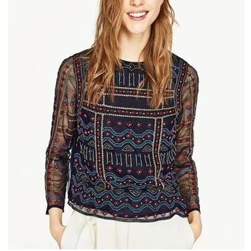 Ethnic O neck Mesh Colored Geometric Embroidery Shirt Retro 2017 New Long Sleeve Perspective Pullover Blouse Tops