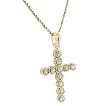 Round Cut Solitaire Lab Diamonds Iced Out Cross 14k Gold Finish Pendant 925 Free Chain