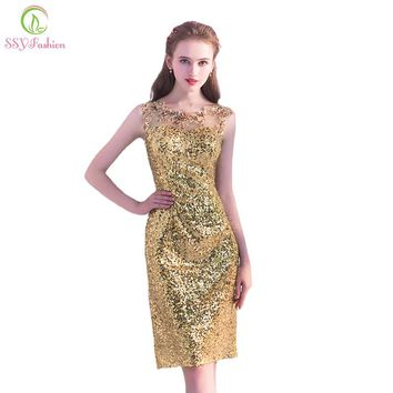 New The Banquet Luxury Short Evening Dress Gold Sequined Sleeveless Slim Sexy Straight Party Formal Gown