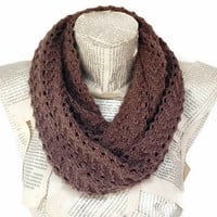 Antibacterial Yarn, Knitting Lightweiht Soft Dark Brown, Infinity Scarf, Circle Scarf, Handknit, Women Accessories