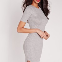 Missguided - Rib Jersey Curve Hem Bodycon Dress Grey