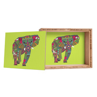 Sharon Turner Painted Elephant Chartreuse Storage Box