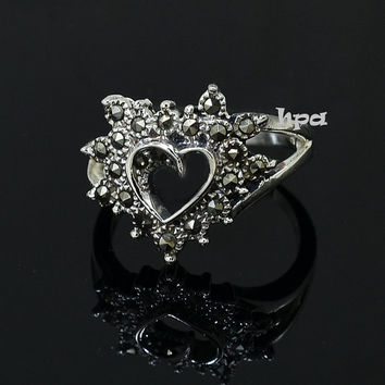 Heart Ring, Marcasite Heart Ring, 925 Sterling Silver