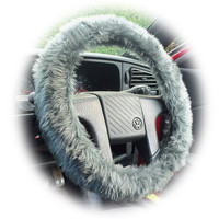 Dark Grey faux fur furry fluffy fuzzy car Steering wheel cover