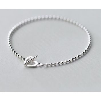 Real. 925 Sterling Silver Lucky Bar &Open Heart toggle Chain Bracelet Lady's Bohi charms Adjustable GTLS365