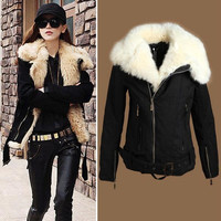 Hot Selling Women's New Warm Lush Outerwear Jacket Parka Fur Winter Coat Black Z377 salebags