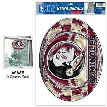 """FLORIDA STATE SEMINOLES ULTRA DECAL STAINED GLASS 11""""X17"""" NEW  SHIPPING"""