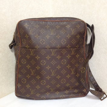 70's 80's Vintage Louis Vuitton brown classic monogram large square messenger shoulder bag. Unisex