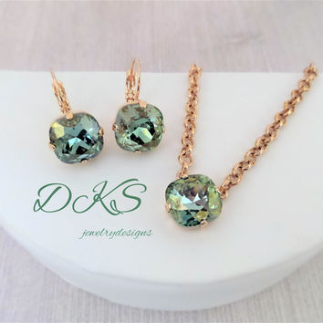 Mint Green Champagne in Rose Gold, Swarovski Necklace, Earrings, 12MM Cushion Cut, DKSJewelrydesigns, FREE SHIPPING