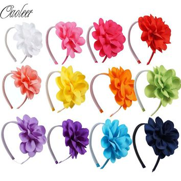 10pcs/lot High Quality Hair Band With Grosgrain Ribbon Flower For girls Handmade Flower Hairbow Hairband Kids Hair Accessories