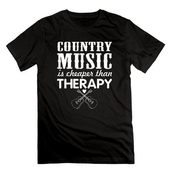 Country Music Is Cheaper Than Therapy Acoustic Guitar Music T-Shirts