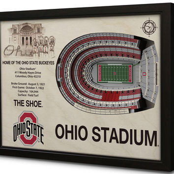 NCAA Ohio State Buckeyes Football 3D Stadium View Wall Art Ohio Stadium