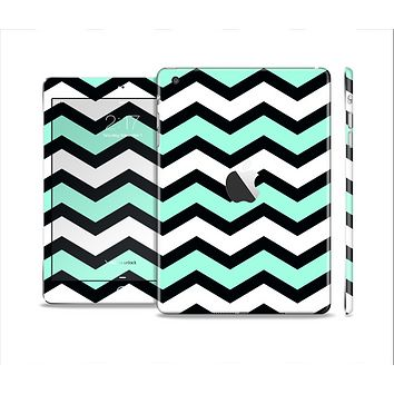 The Teal & Black Wide Chevron Pattern Skin Set for the Apple iPad Mini 4