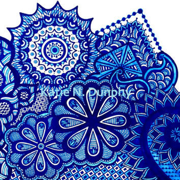 "Blue Henna Abstract Line Drawing Print Original Design 8""x10""  by Katie N. Dunphy"