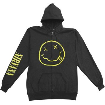 Nirvana Men's  Smile Zip Hoodie Zippered Hooded Sweatshirt Black