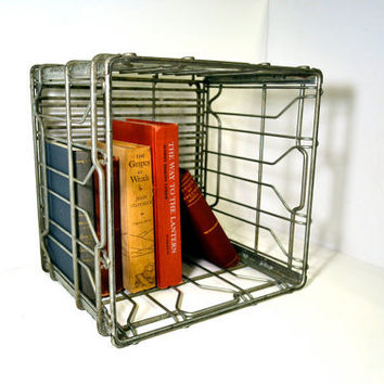 Vintage Milk Crate Metal Wire Stacking Crate by BananasDesign