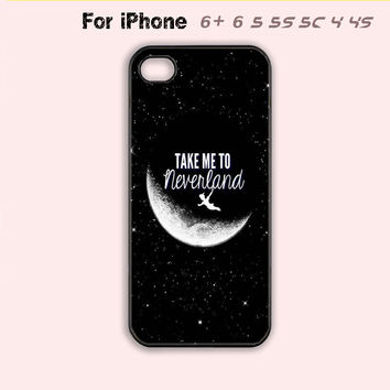 Take to me neverland,Peter Pan Phone Case For iPhone 6 Plus For iPhone 6 For iPhone 5/5S For iPhone 4/4S For iPhone 5C-5 Colors Available