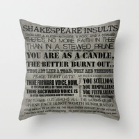 Shakespeare Insults Throw Pillow by EntryPlug | Society6