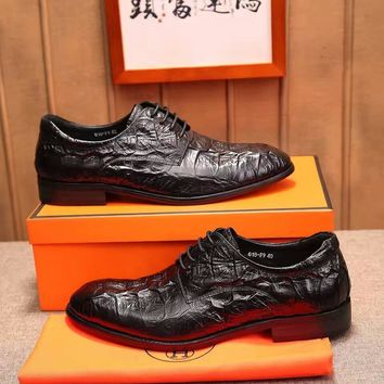 Hermes Men's Leather Fashion Sneakers Shoes